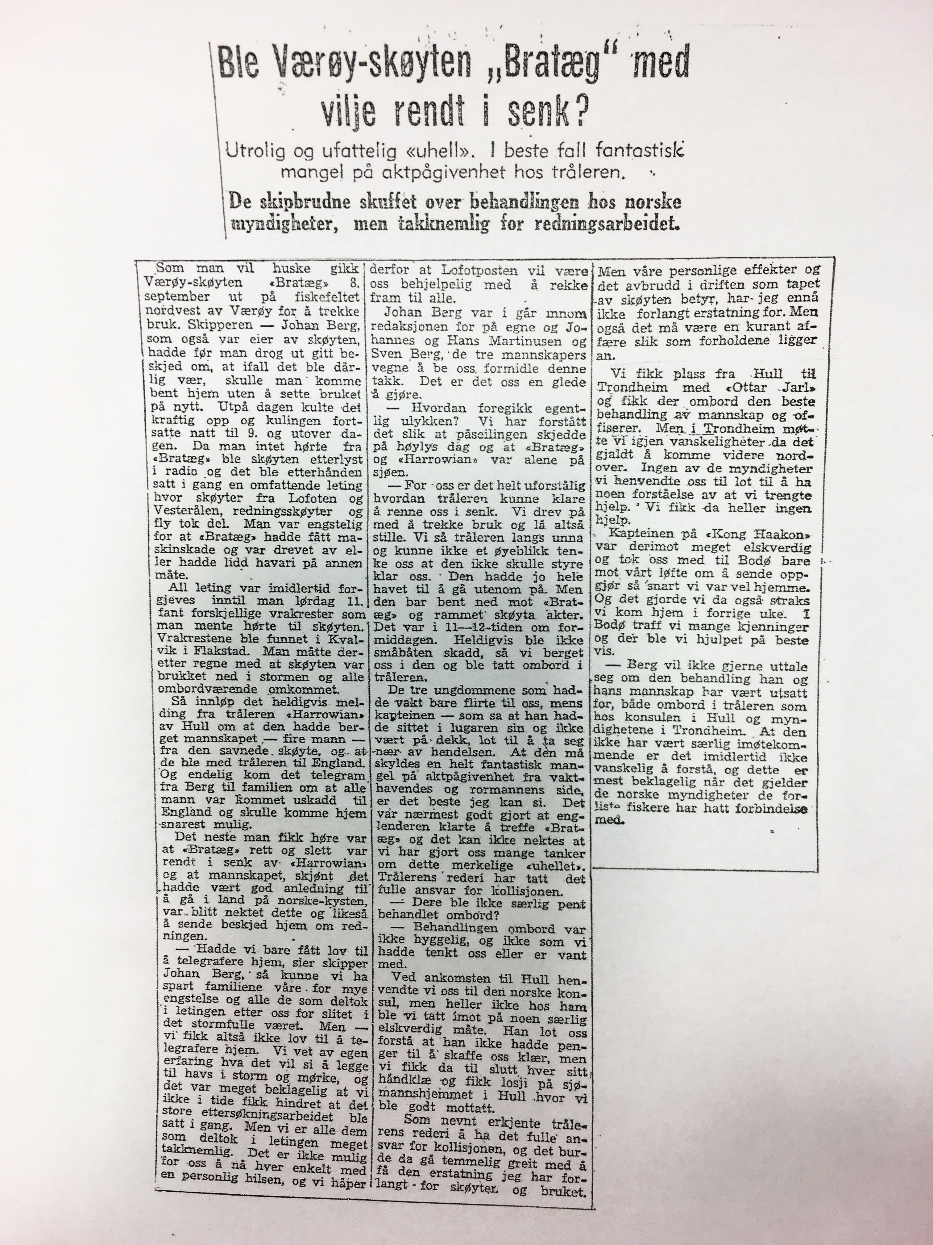 Den dramatiske hendelsen på Røstbanken ble behørig omtalt også i avisene.